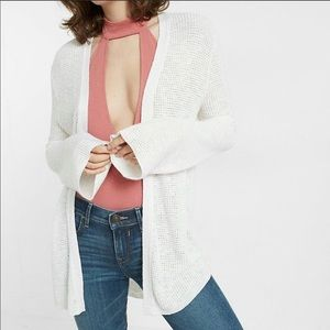 EXPRESS White CARDIGAN: Thermal Bell-Sleeve